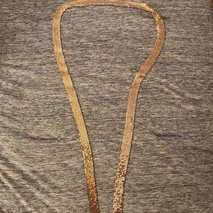 Gold mesh long necklace 4 feet long